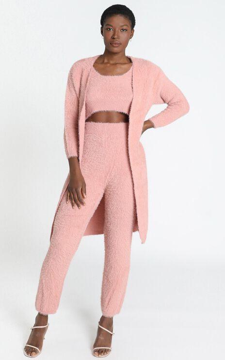 Athena Fluffy Knit Cardigan in Blush