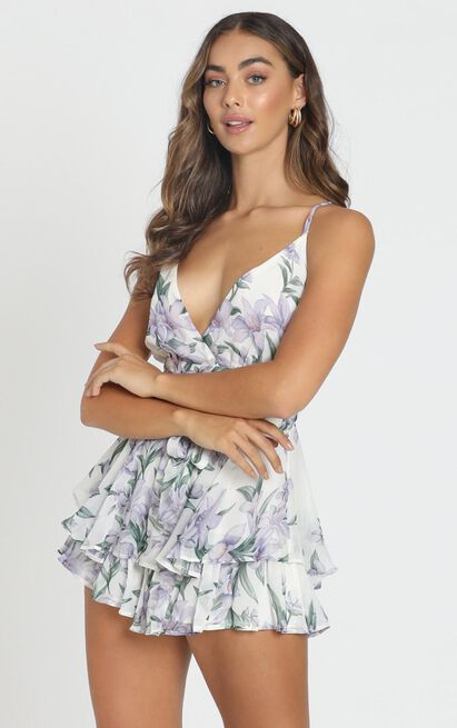 The Times right Playsuit in white floral - 12 (L), White, hi-res image number null