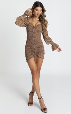 Kelly Ruched Mini Dress In Leopard Print