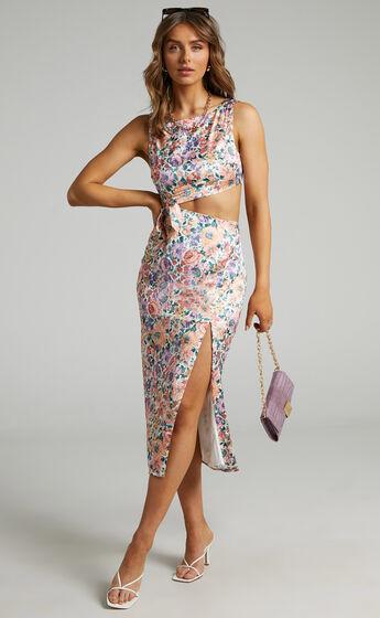 Stella Cut Out Waist Tie Front Dress in Secret Garden