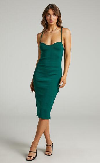 Larah Bodycon Sweetheart Neckline Midi Dress in Emerald