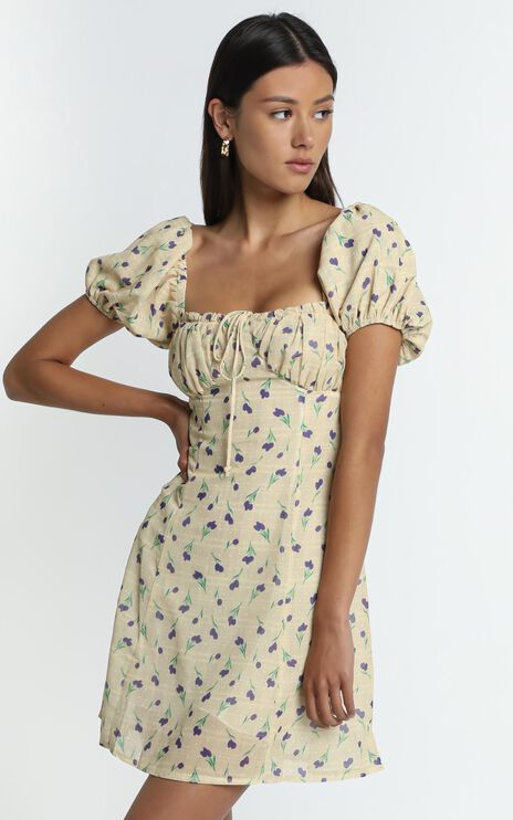 Edrea Dress in Yellow Floral