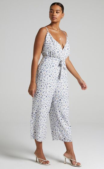 Thought Provoking Jumpsuit in White Floral