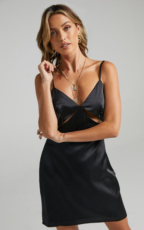 Puglia Dress in Black Satin