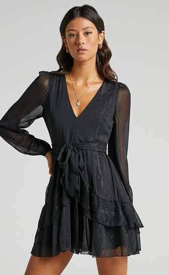 Eyes That Know Me Long Sleeve Ruffle Mini Dress in Black