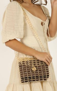 Show Me Your Love Beaded Bag In Champagne