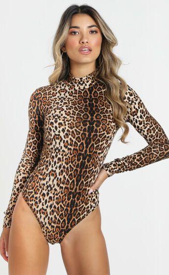 Shes Wild High Neck Bodysuit In Leopard Print