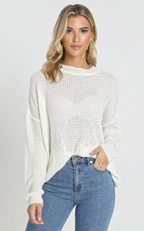 Envious Lady Knit Top In White Waffle