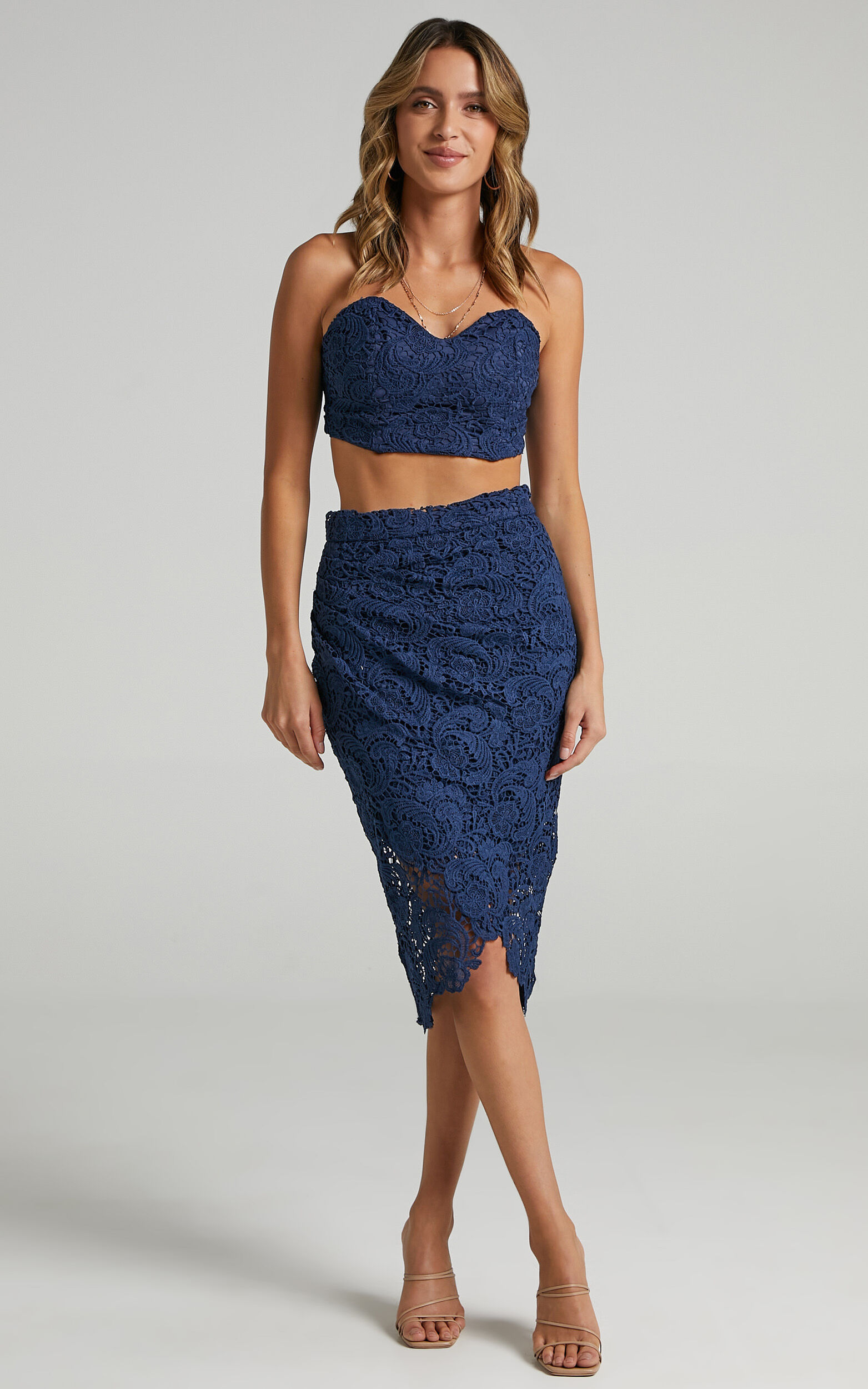 Daliah Two Piece Set in Navy Lace - 04, NVY4, super-hi-res image number null