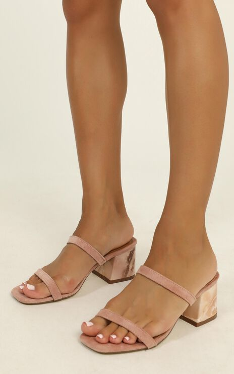 Therapy - Goldie Marble Heels In Rose Micro