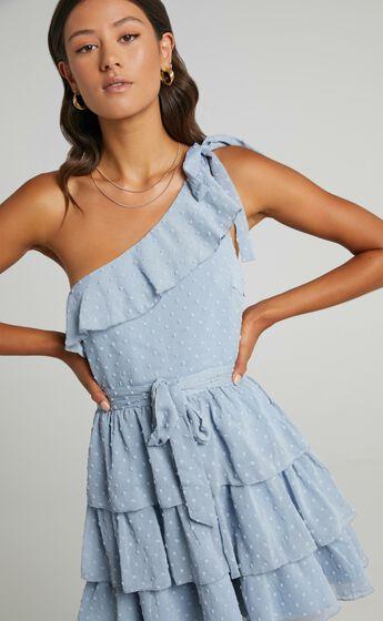 Darling I Am A Daydream One Shoulder Ruffle Mini Dress in Powder Blue