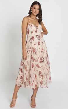 Driving Away Dress In Cream Floral