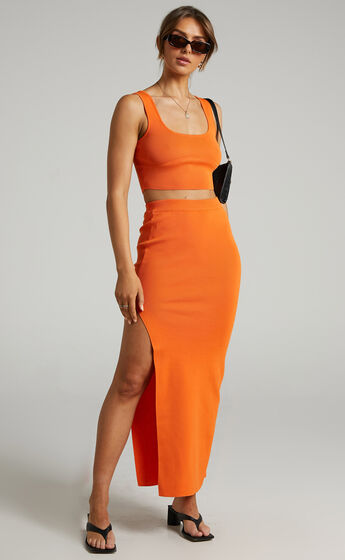 Matina Ribbed Two Piece Set in Orange
