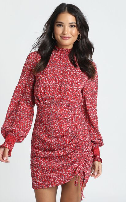 Linda High Necked Mini Dress in red floral  - 12 (L), Red, hi-res image number null