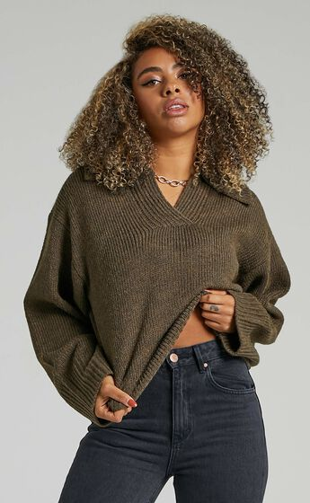 Lila Collared Knit Jumper in Moss Green