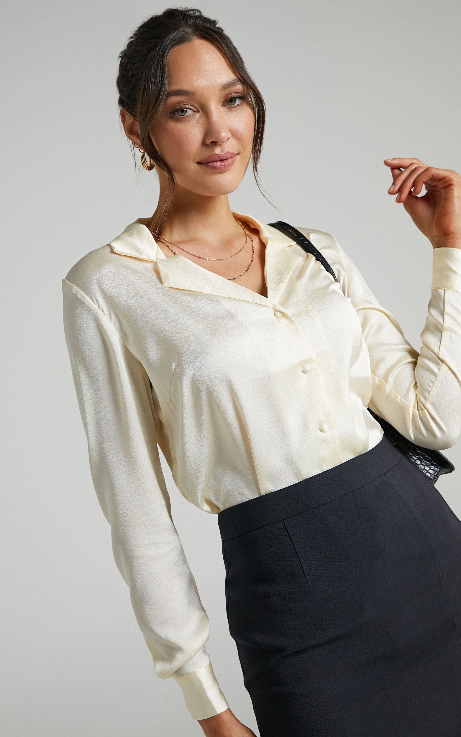 Tinna Longsleeve Satin Collared Button Up Shirt in Off White - 06, WHT1, super-hi-res image number null