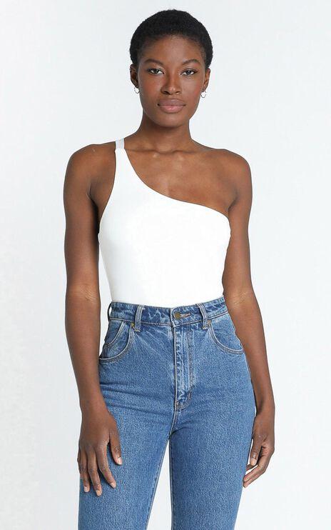 Checked In Bodysuit In White