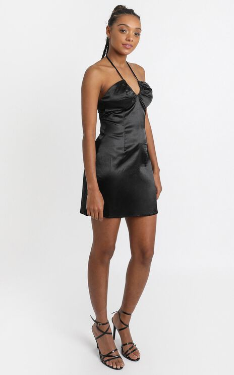 Jones Dress in Black Satin