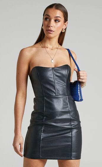 Lauren Strapless Corset Bodycon Mini Dress in Black
