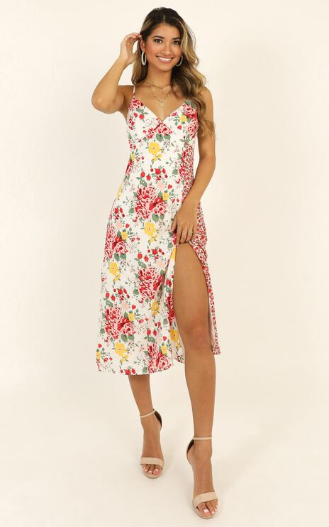 Spice Market Dress In White Floral
