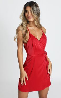 Mine Now Dress In Red Satin