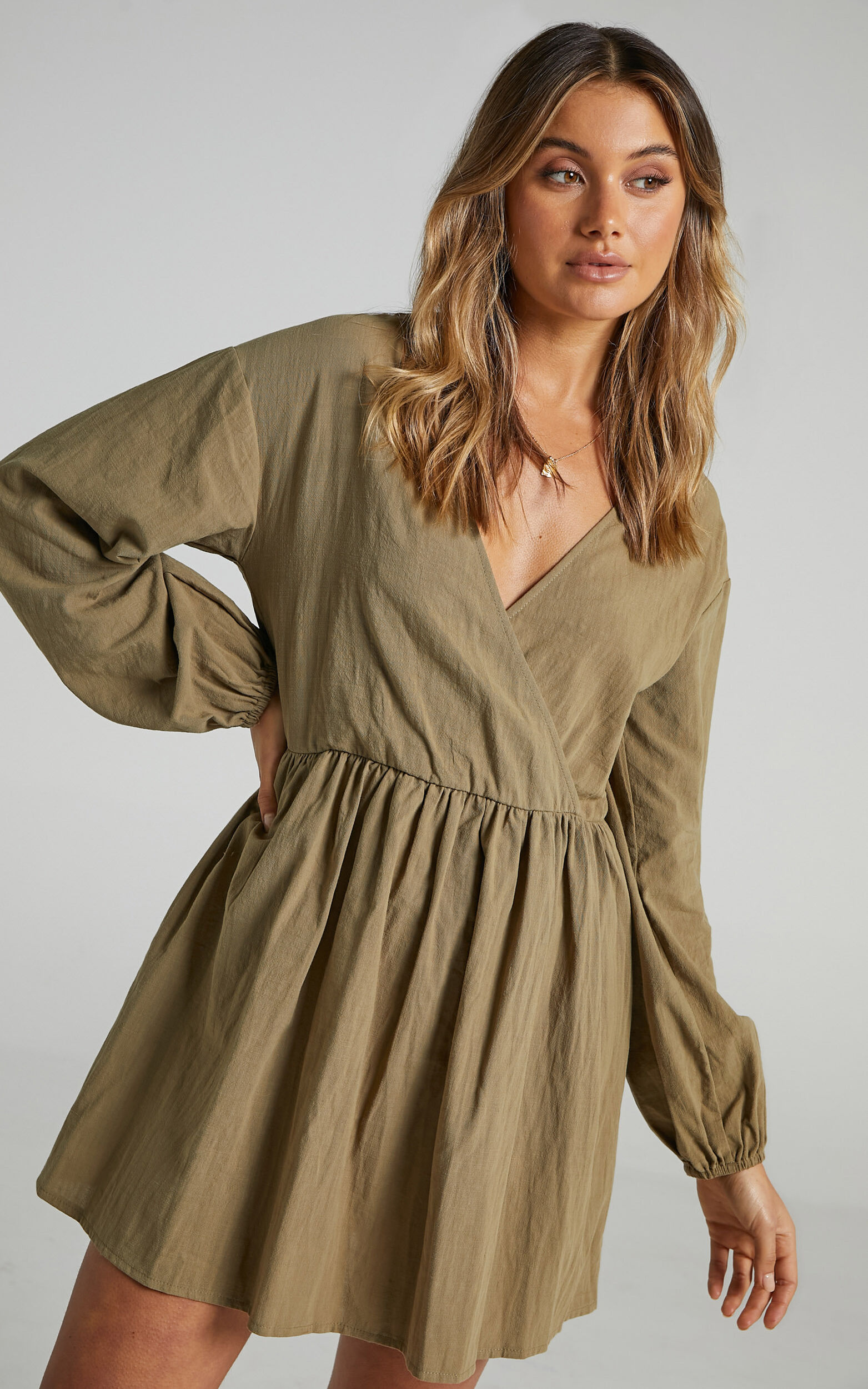 Kensley Wrap Front Long Sleeve Mini Dress in Khaki - 04, GRN1, super-hi-res image number null