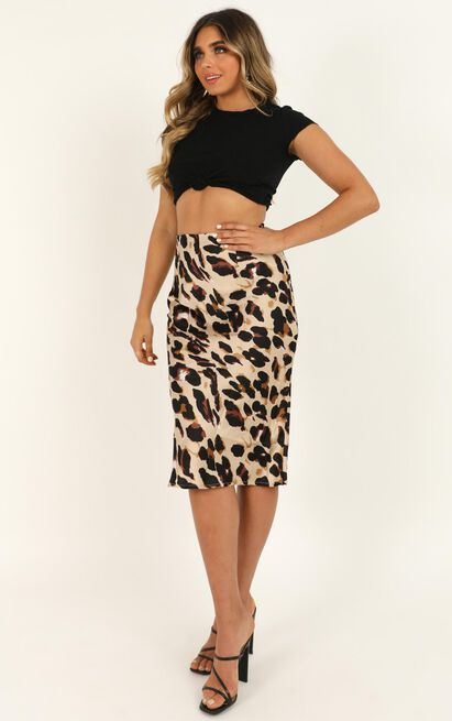Wild Spirit midi skirt in leopard print satin - 14 (XL), Brown, hi-res image number null