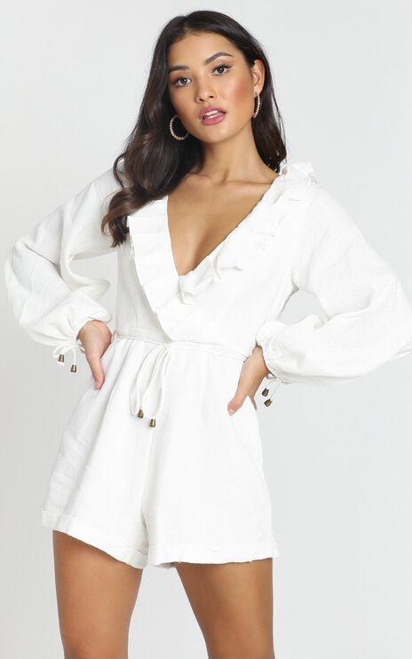 Katya V Neck Playsuit in White