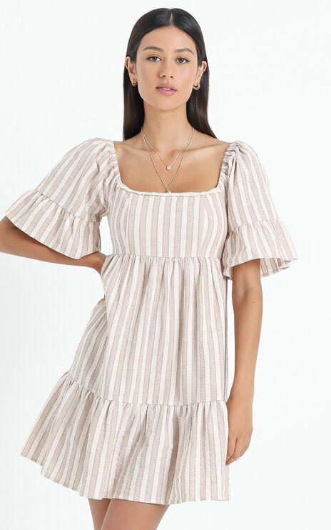 Minkpink - Sway Mini Smock Dress in Beige Stripe
