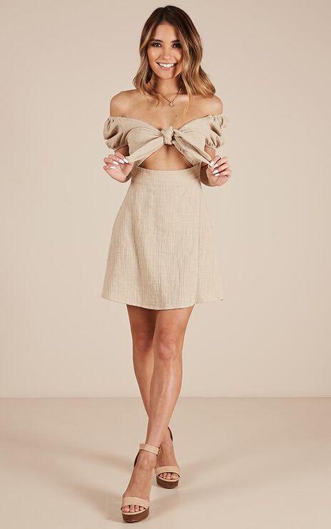Youthful Energy Dress In Beige Linen Look