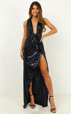 Shine A Light Dress In Navy Sequin