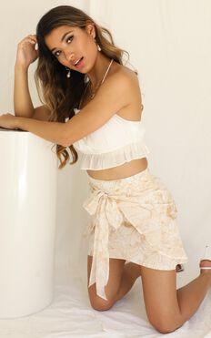 Just Walk Away Skirt In Mocha Floral