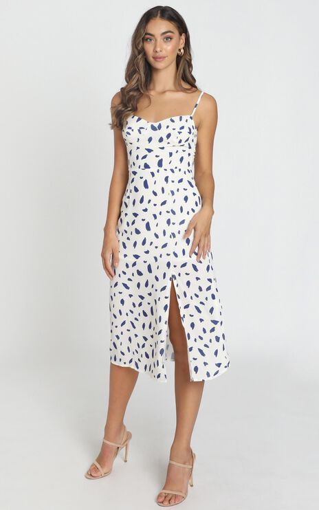 Learn To Let Go Dress In White Print
