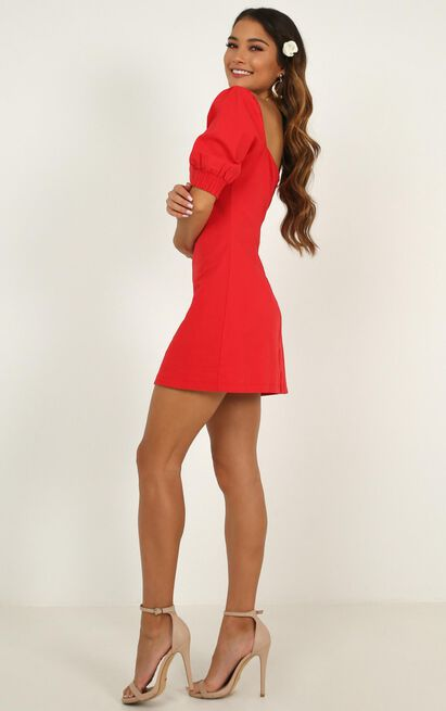 Sneaky Chatter Dress in red linen look - 4 (XXS), Red, hi-res image number null