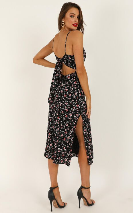 Sheridan Midi Dress In Black Floral