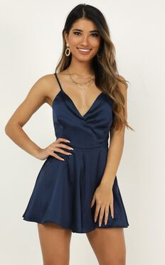 Shes Got This Playsuit In Navy Satin