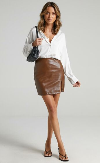 In The Name Of Love  Leatherette Mini Skirt in Chocolate