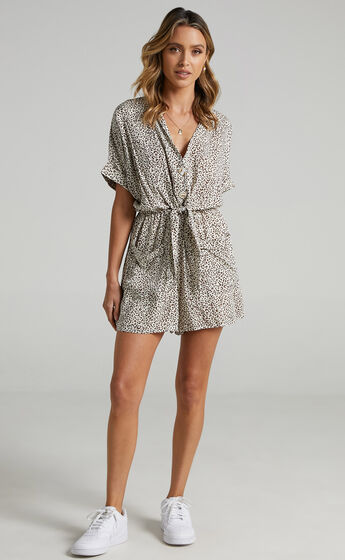 Ruthie Playsuit in Leopard Print