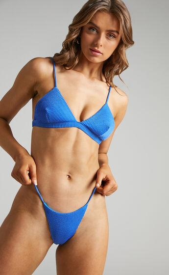 Raeni Textured Triangle Bikini Top in Blue