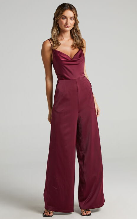 Together in Spirit Jumpsuit in Mulberry Satin