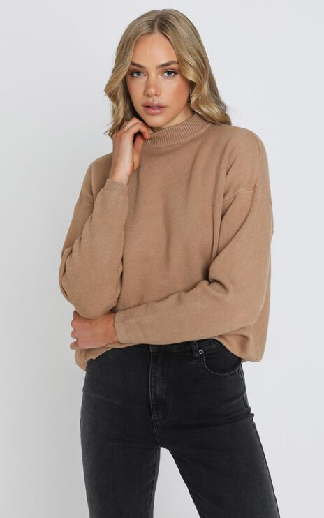 Midnight Glow Knit Jumper in Tan