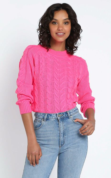 Duffy Knit Jumper in Hot Pink