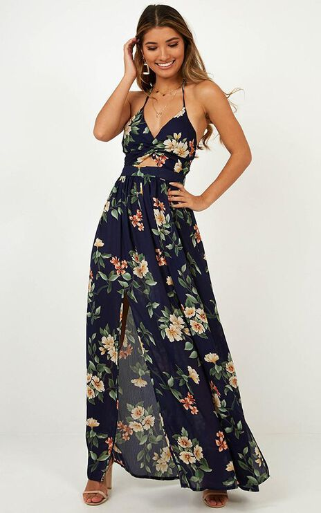 Imagine This Maxi Dress In Navy Floral
