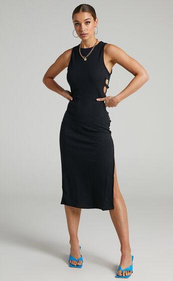 Buderim Cut Out Sides Midi Dress in Black