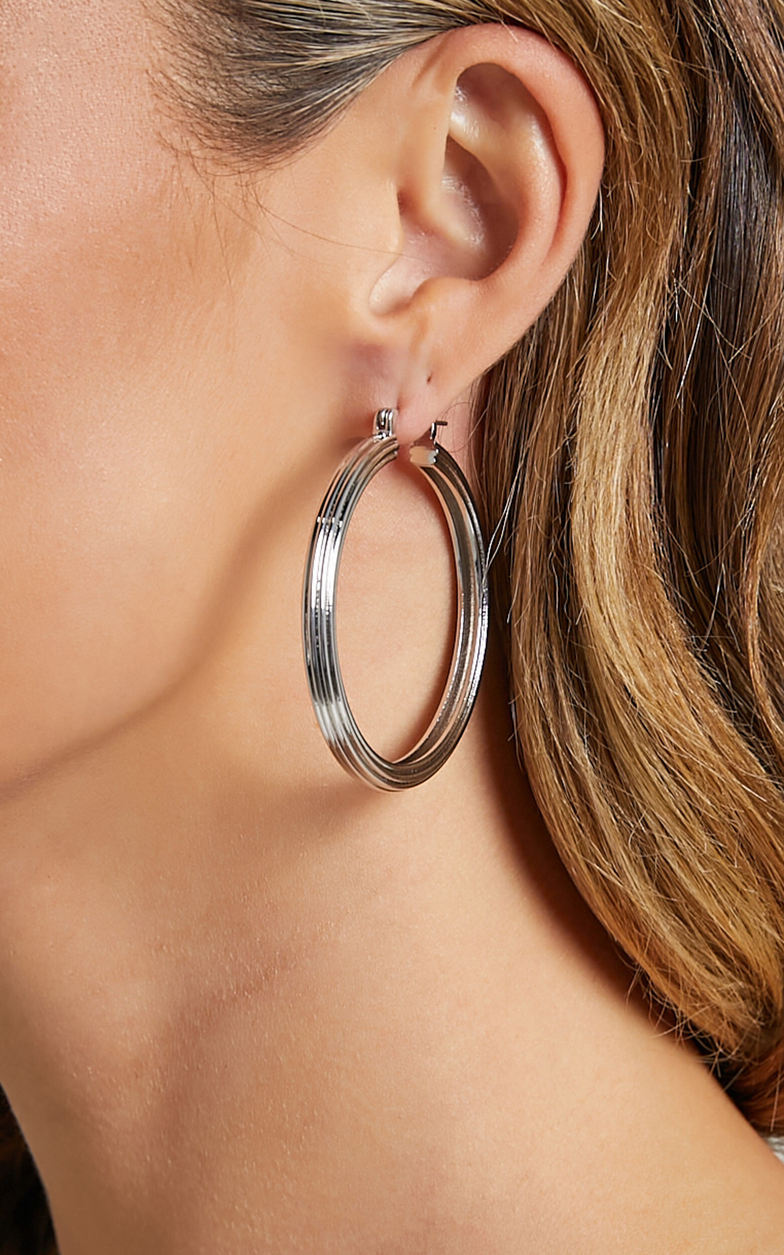Luv AJ - XL Cher Hoops in Silver - OneSize, SLV1, super-hi-res image number null
