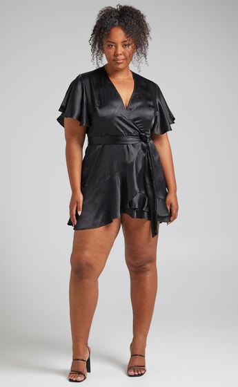 All I Want To Be Ruffle Mini Dress in Black Satin