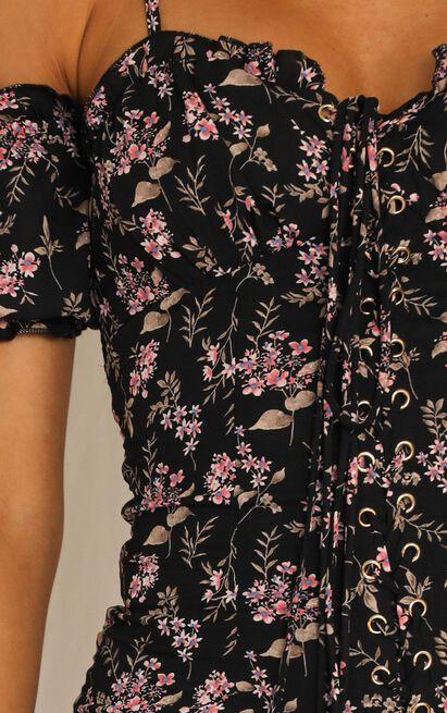Leave The Past Behind dress in black floral - 8 (S), Black, hi-res image number null
