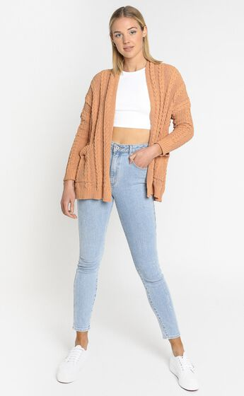 Francesca Cable Knit Cardigan In Rust