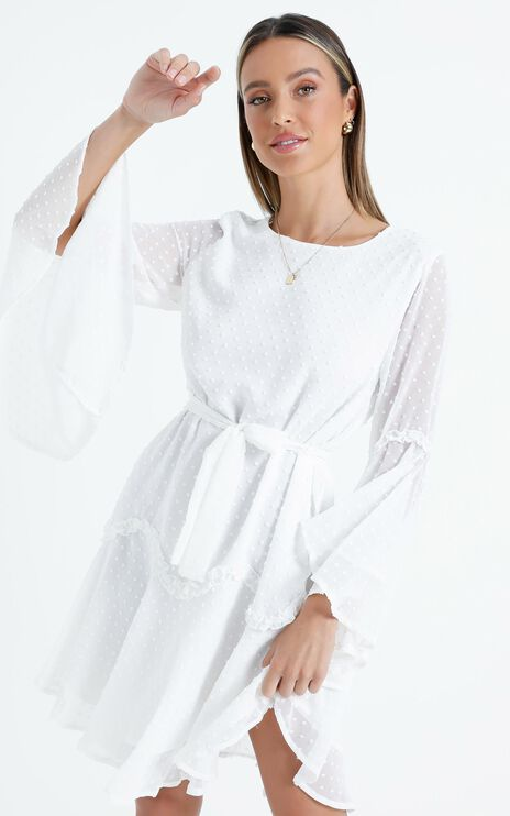 So Whats Next Dress in White Dobby