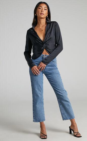 Elexis Twist Front Long Sleeve Top in Black Satin